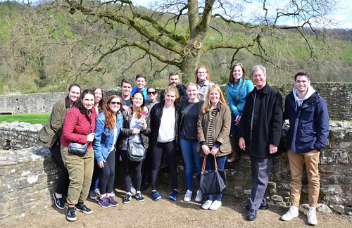 Emily Shlafmitz '18 majoring in English participating on spring 17 London English study group with London English study group at Tintern Abbey