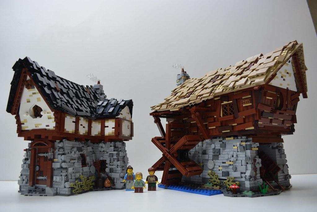 LEGO Medieval Cottage & Watermill (custom built Lego model)