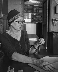 Another post-chemo burger at the Twisted Root... Today... bone scans...  #cancersucks👎 #twistedroot #portrait #portraitphotography #blackandwhitephotography #olympus #candid #em10markii #20mm #blackandwhite