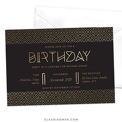 This invitation features a beautiful geometric pattern in gold with unique typography all laid out in a modern layout #partyplanner #partyinvitations #birthdayparty
