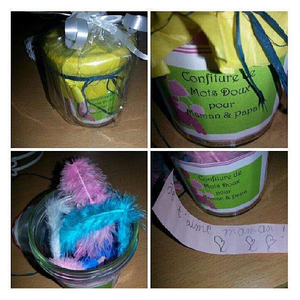 Le cadeau de mon fils pour la fête des parents.  Pleins de mots doux. #cadeau #enfant #blog #blogueuse