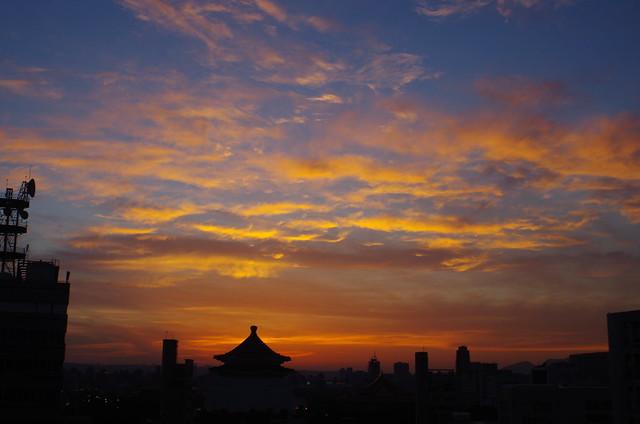 在天台上拍的落日