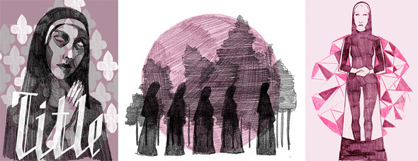 sketches of nuns and silhouettes