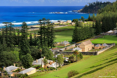 View Across Quality Row to New Gaol and Kingston Pier Precinct, From Queen Elizabeth Lookout, Norfolk Island