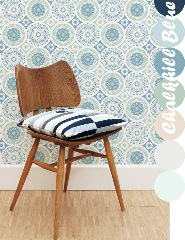 Mini Moderns, Darjeeling Wallpaper in Chalkhill Blue | Emma Lamb