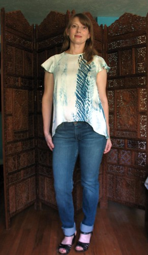 Handmade top from hand dyed shibori silk