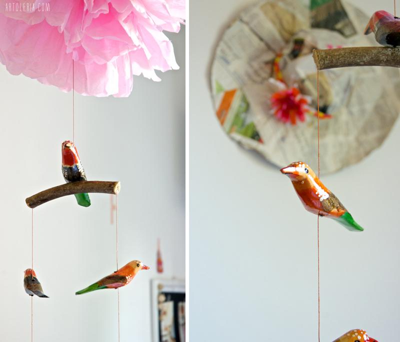 decorazione da soffitto - uccellini di legno