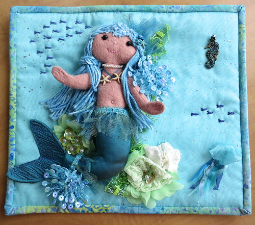 "Mini quilt from Teri for the QT ""Under the Sea"" theme"