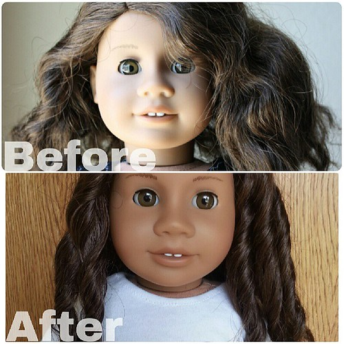 Alanna's hair restoration is FINALLY a success! Before pic is from when I first got her last year and after pic is from today. :-)