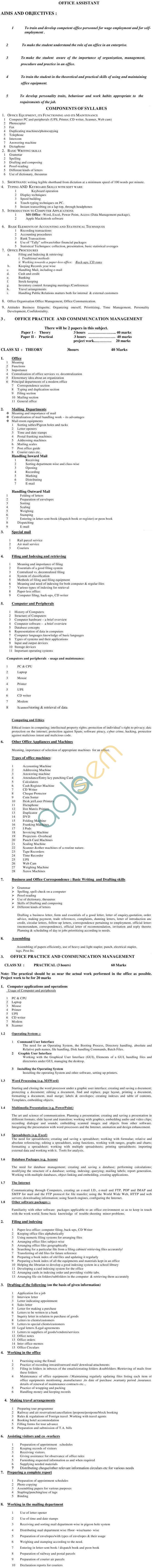 ICSCE CVE-12Office AssistantSyllabus 2014