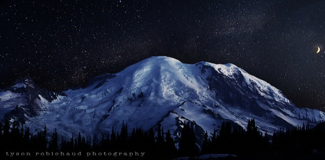 The moon, stars and Mount Rainier