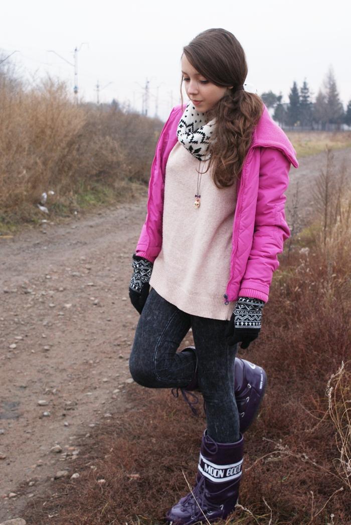 stylizacja zimowa buty moon boots