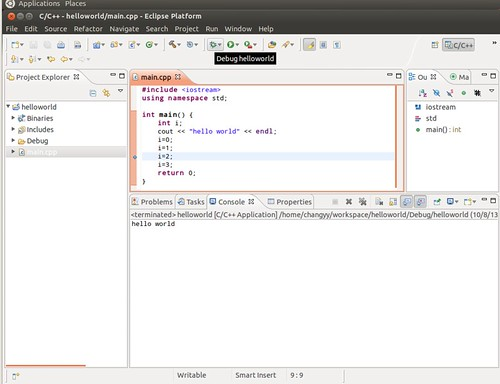 Ubuntu 12.04 Eclipse C++ Project Debug 4