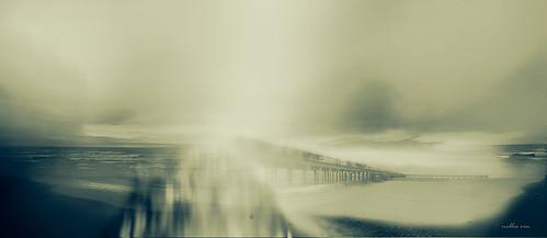 bridge light sunset sky people art weather fog sepia print landscape shadows seasons cloudy contemporaryart balticsea photograph impressionism hazy fineartphotography nellievin pentaxlumixdmczs30