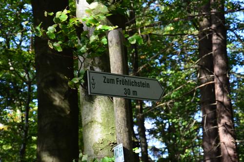 An einem Baum steht ein Hinweisschild zum Fröhlichstein