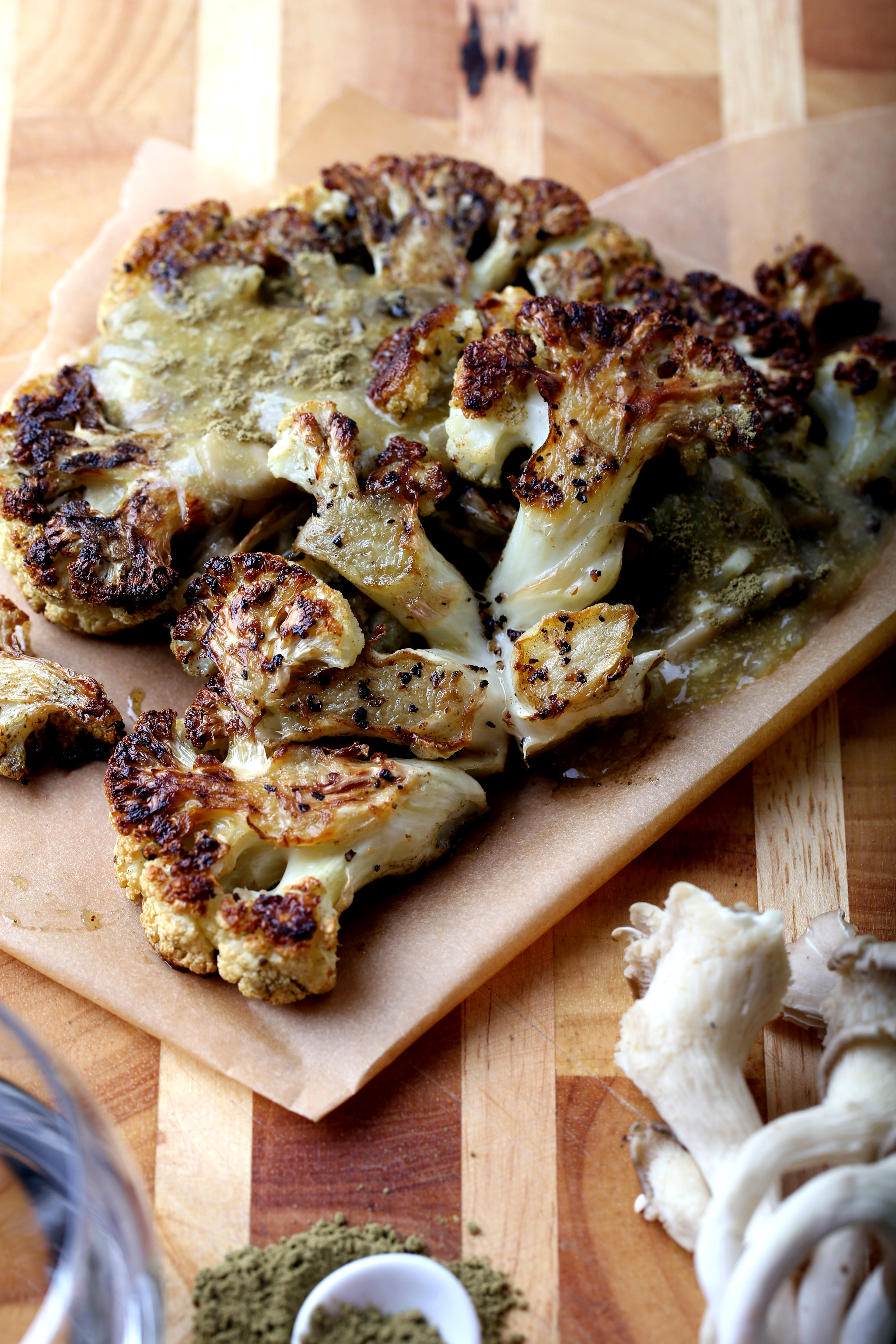 Roasted Cauliflower Steaks with Oyster Mushroom Gravy