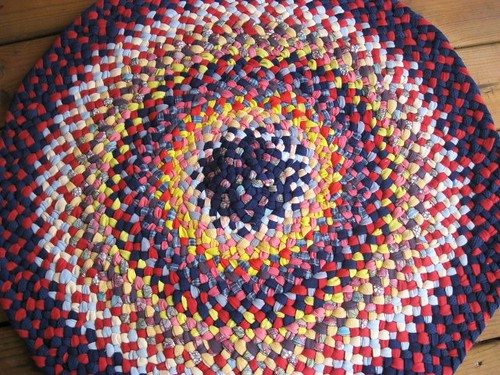 Colorful Round Braided Rug in Goldenrod and Crimson Red from recycled fabrics