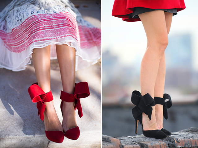 a pair and a spare DIY fashion pumps with bows