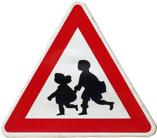 Warning Sign Children in Golden Sands, Bulgaria (AP4P1252)