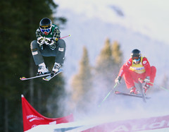Dave Duncan leaves his competition in the dust at the FIS Ski Cross World Cup in Nakiska, CAN