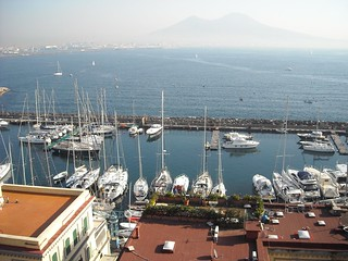Port of Santa Lucia and Vesuvius from Castle of Egg in Naples