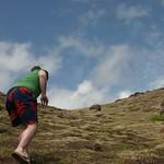 Climbing the grassy knoll
