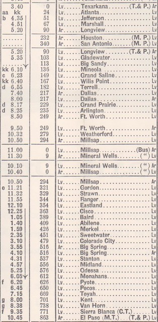 T and P 1956 Schedule
