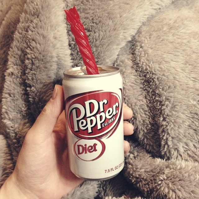 Starting a cleanse tomorrow, so I'm celebrating with the best ever, Dr. Pepper and Red Vines... #365grateful