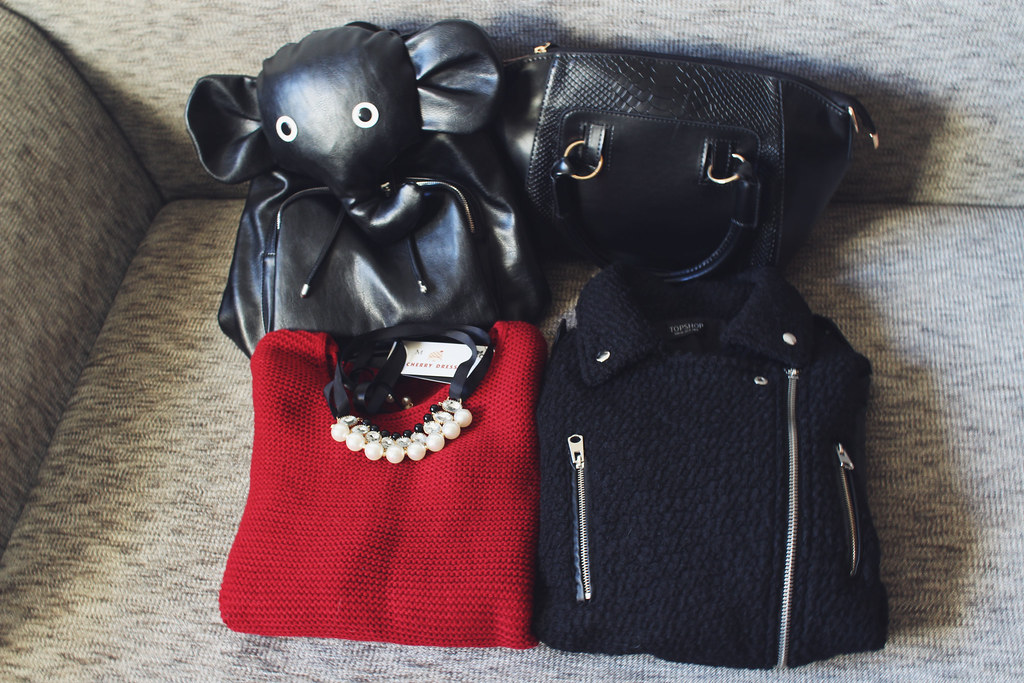 Call me Maddie's newest additions to my wardrobe, featuring items like an elephant backpack from jollychic, leather sleeve jacket from jollychic, red cable knit sweater with zipper detailing, black crocodile subtle pattern bag frm rosewholesale, pearl and gemstone necklace from rosewholesale