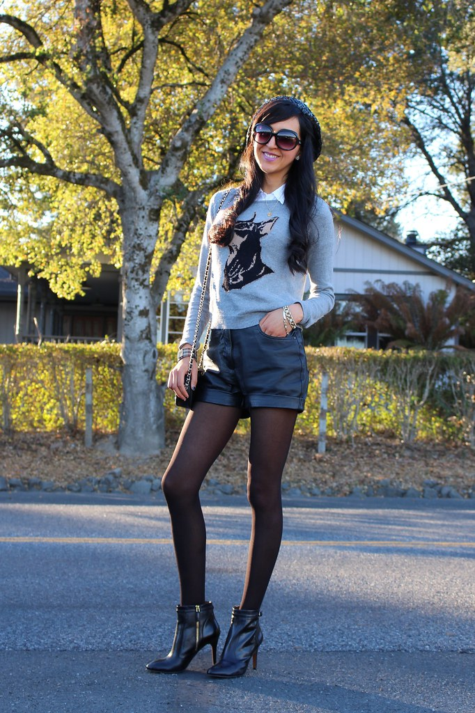 Leather Shorts, Sequin Beret 9