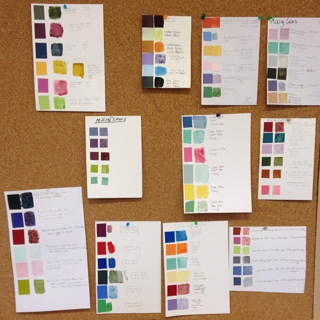 My students did a great job with their color mixing group exercises.  They got 6 swatches and learned how to use a six primary mixing system to accurately match colors.