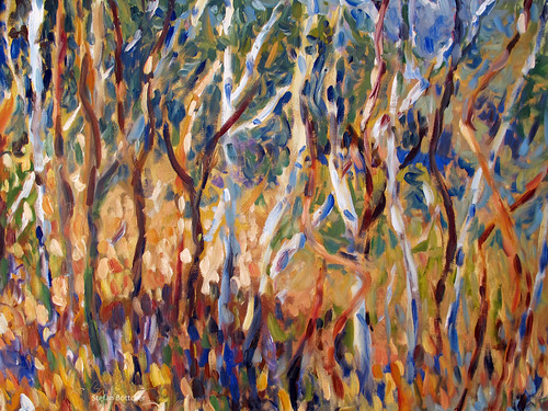 Grove with joung Birch Trees by boettcherART