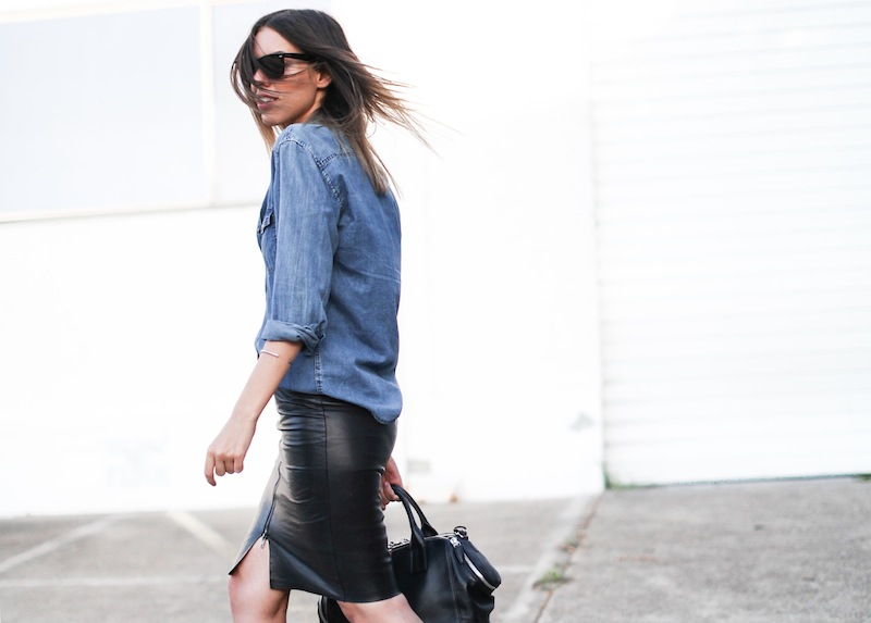 modern legacy fashion personal style blogger australia boyfriend denim shirt General Pants Co KAHLO leather zip pencil skirt Tibi sandal heels Alexander Wang chain bag street style ray ban oversized wayfarers (5 of 12)
