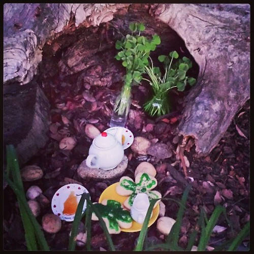 Party set for the Leprechauns! Tea and cookies, with cream and honey. #waldorf #spring #leprechauns #festivals