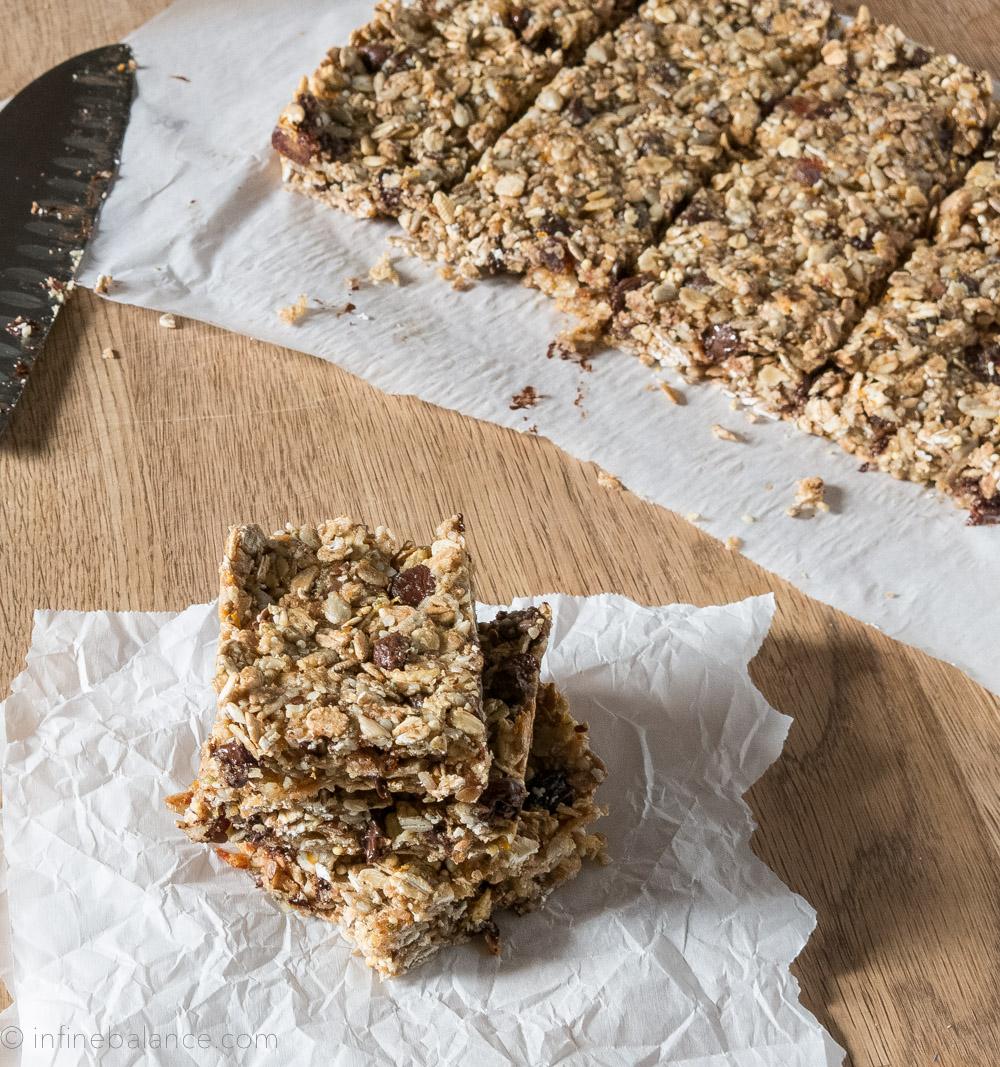Orange, Date and Chocolate Granola Bars | www.infinebalance.com #vegan #nut-free