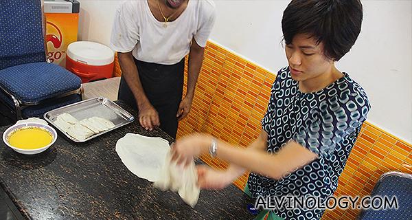 Rachel executing a prata flip