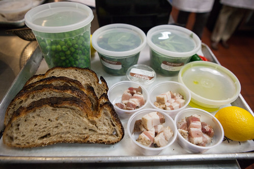 Our mis en place for the pea toast with house cured bacon dish