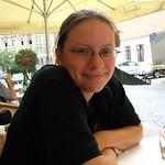 Having lunch outside St Stephen's Basilica, Budapest