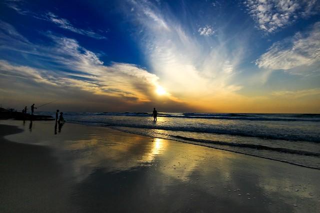 Bathing & Fishing at sunset - Tel-Aviv beach