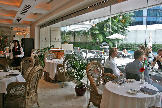 La Brezza has a casual, holiday-like vibe with a view of the hotel pool