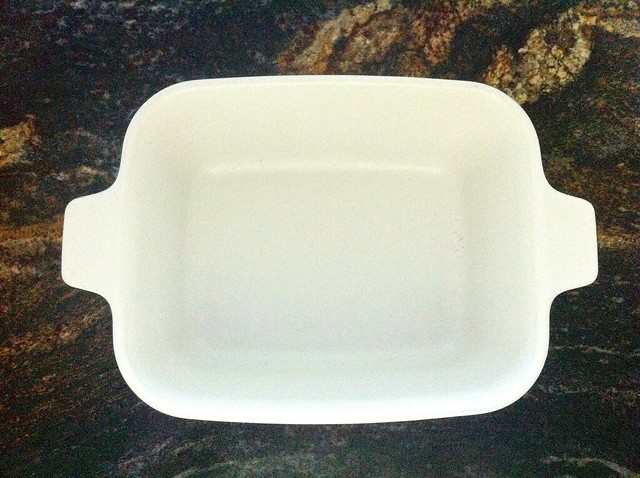 Greased Corning Ware Loaf Pan