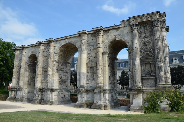 The Porte Mars, an ancient Roman triumphal arch in Reims dating from the 3rd century AD and the widest arch in the Roman world, Durocortorum (Reims, France)