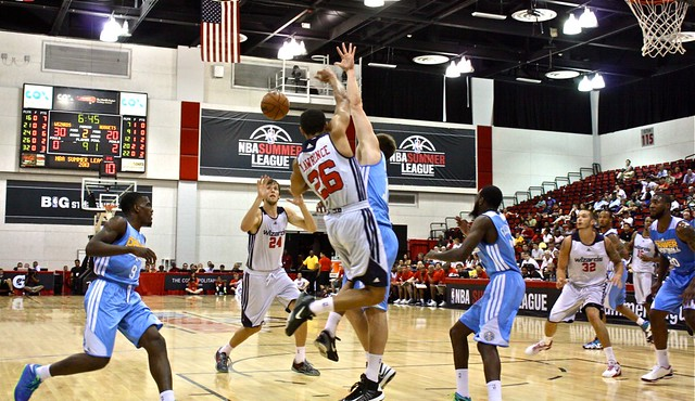 Andrew Lawrence finds Jan Vesely - Washington Wizards - 2013 NBA Las Vegas Summer League