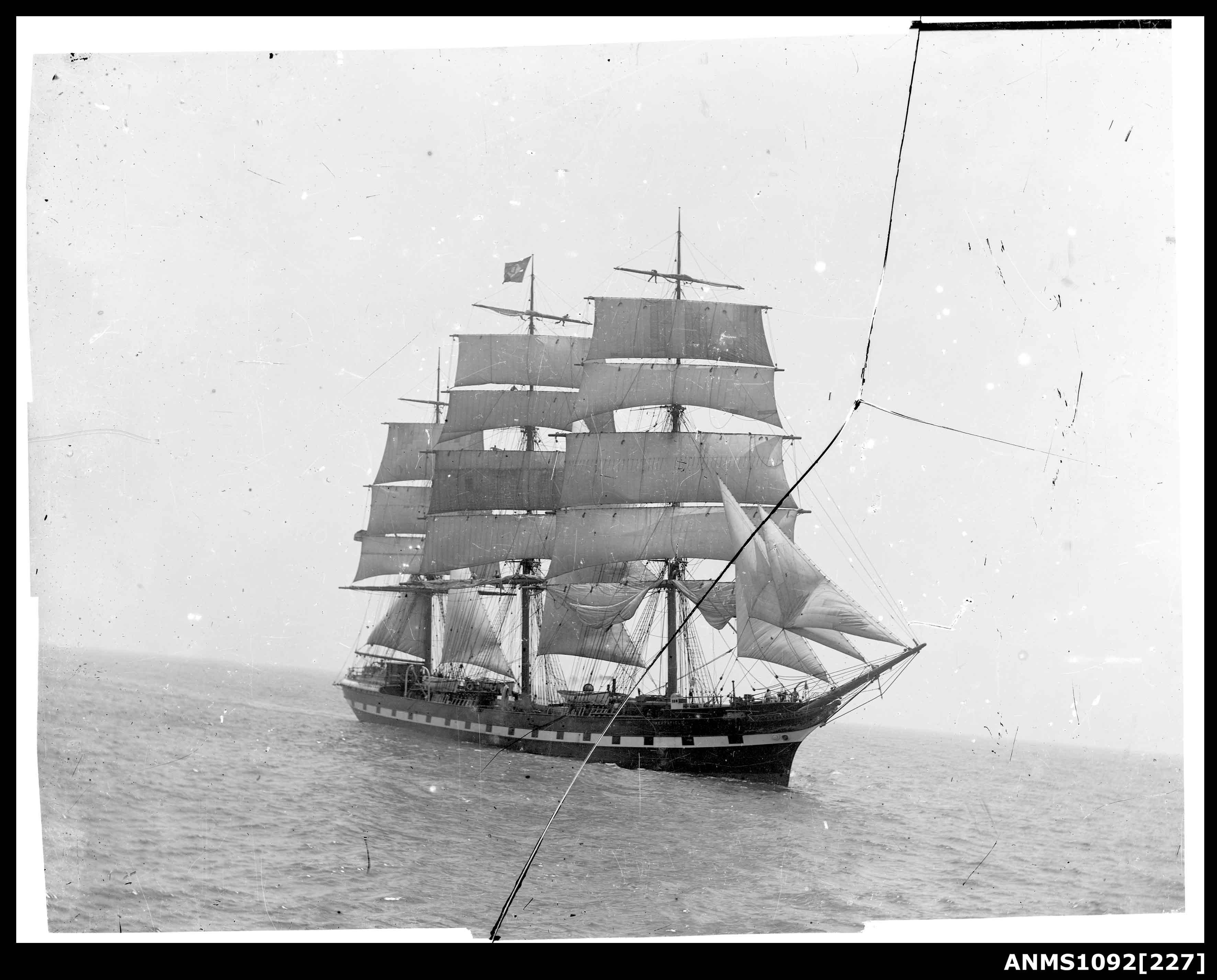 Sailing ship underway