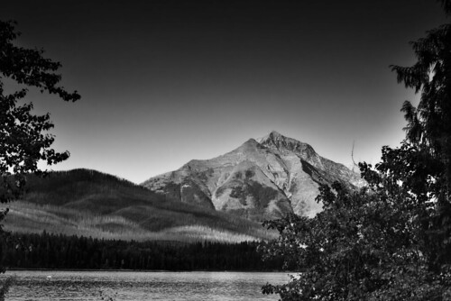 Lake McDonald and a Mountain Backdrop (Black & White)