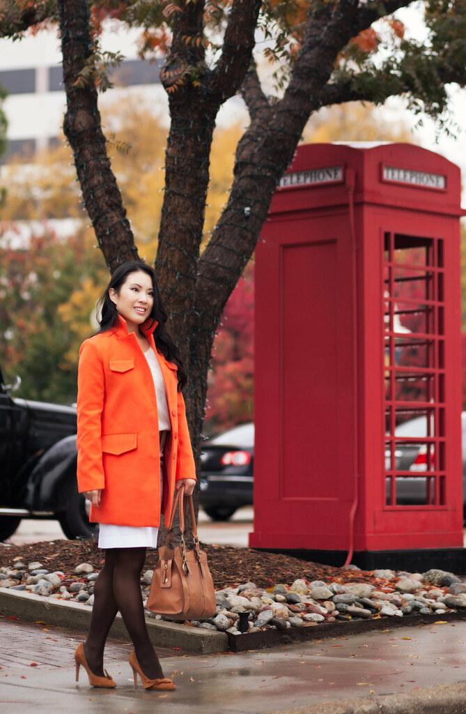 cute & little blog   sheinside orange coat, monochromatic winter white outfit, sole society elisa pumps, obocreations earrings