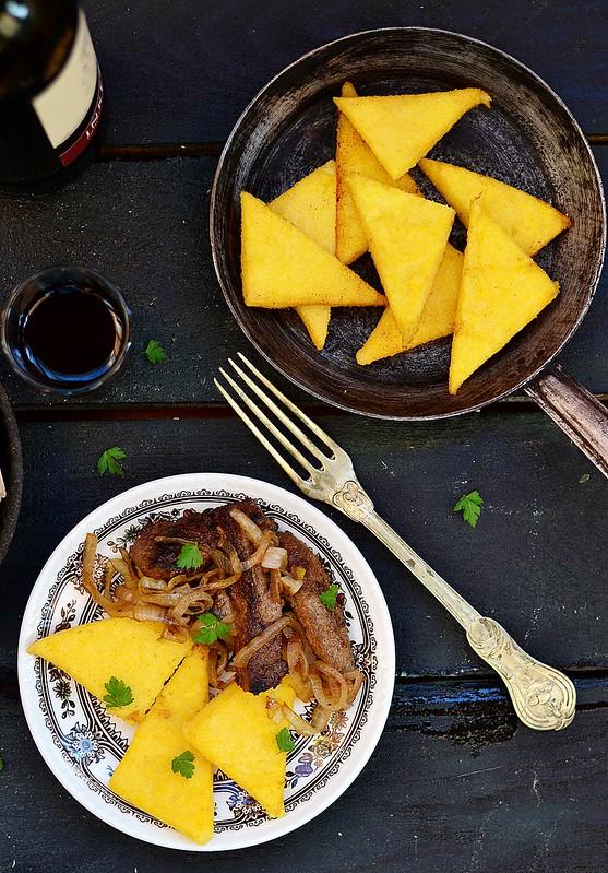 polenta and fried liver.3