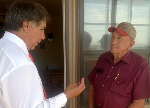 Under Secretary Edward Avalos talks to Dick Hoffman, owner of Hoffman Pecan Farms in Stillwater, OK.  Natural disaster assistance that helps save multi-generational farms like this one is a key provision of the Food, Farms and Jobs Bill.
