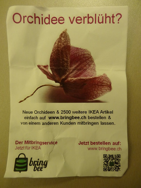 Ein Werbeflyer von  bringbee.ch
