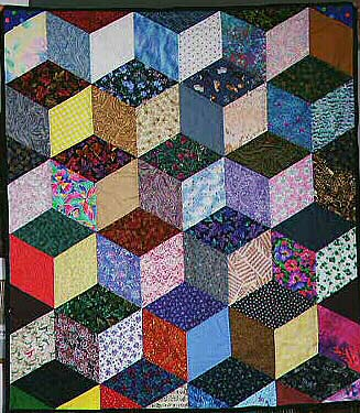 Tumbling Block Quilt Detail